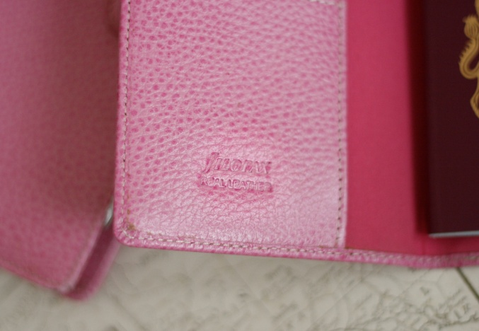 filofax pink leather passport holder