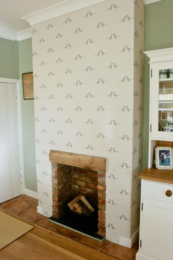 beam brick fireplace