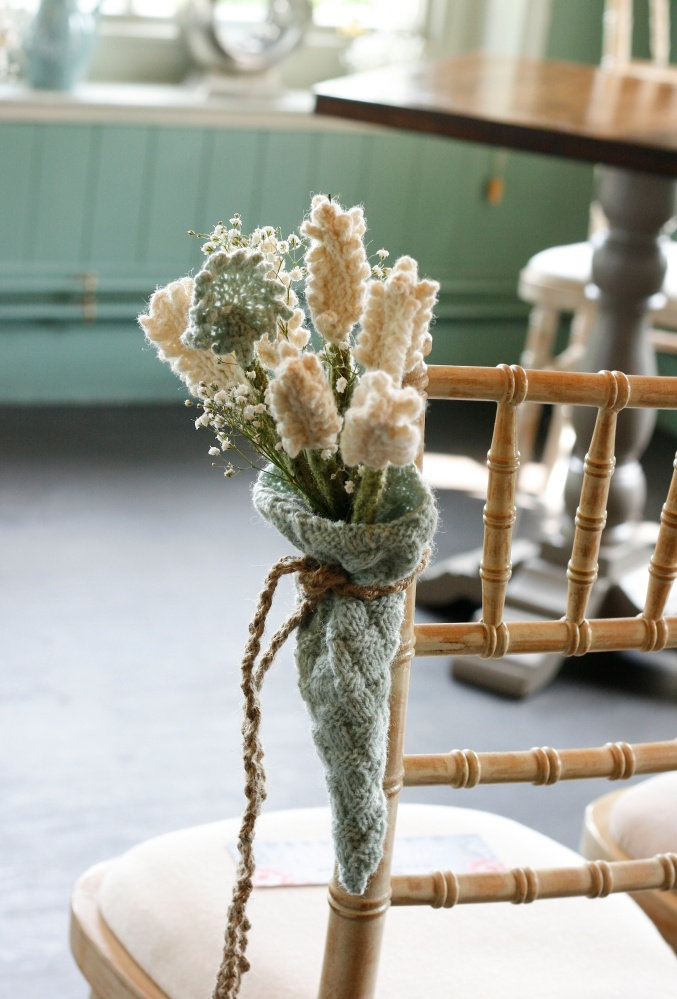 knitted wedding flowers