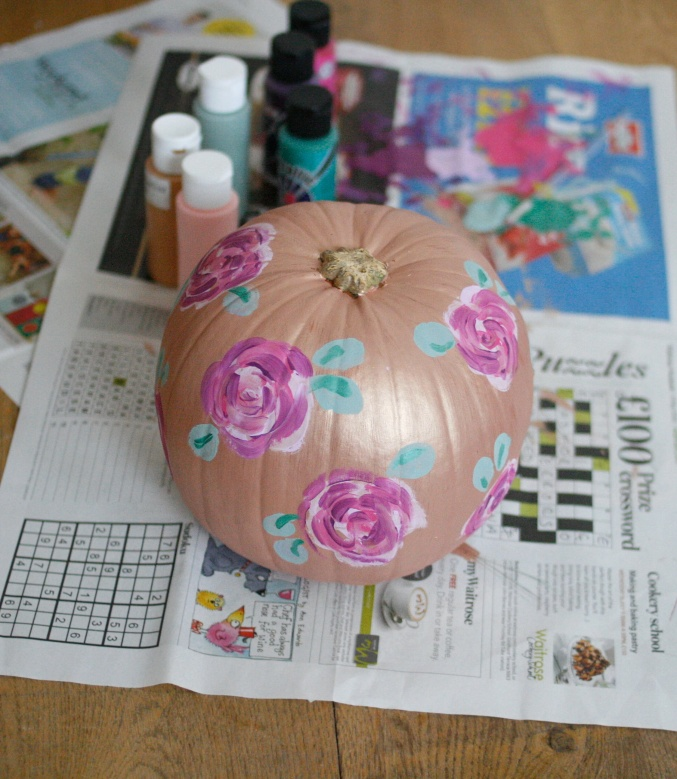 painted floral pumpkin
