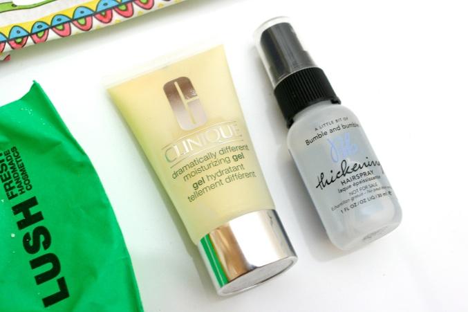 Clinique moisturiser, Bumble & Bumble hairspray