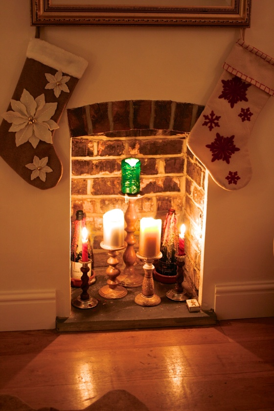 christmas fireplace candles stocking