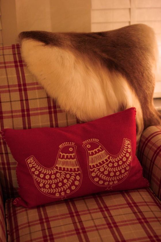 armchair reindeer hide fur throw cushion