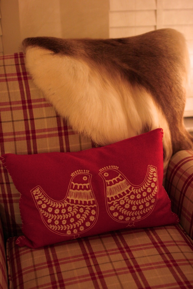 armchair reindeer hide fur throw cushion