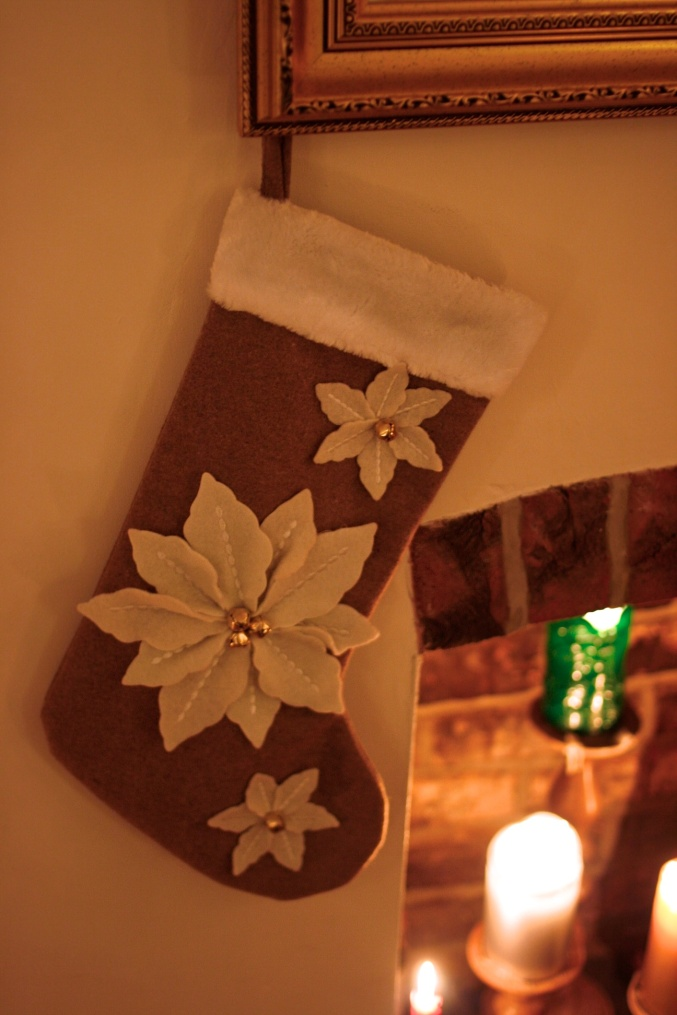 poinsettia felt stocking